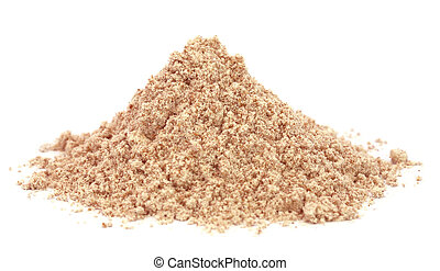 Reddish flour over white background