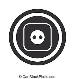 Round black socket sign - Image of socket in circle, on...