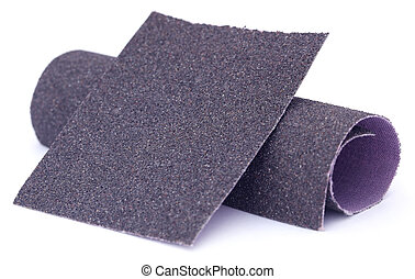 Sand paper roll and sheet over white background