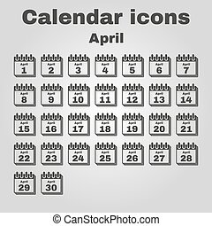 The calendar icon. April symbol. Flat