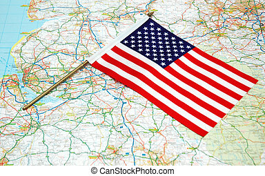 US flag over the map