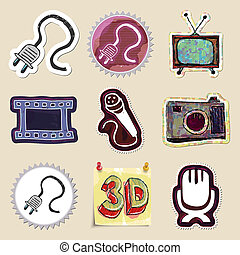 Hand drawn media and entertainment emblems set Isolated...