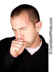 Coughing - A man coughing in front of a white background.