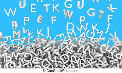 Alphabet letters white fall
