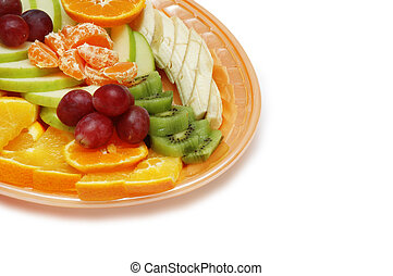 Plate with fruit salad isolated on white - space for your text
