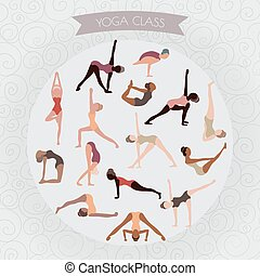 woman practicing yoga for design. Set of yoga poses