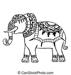 Carved elephant. - The cheerful elephant. The silhouette of...