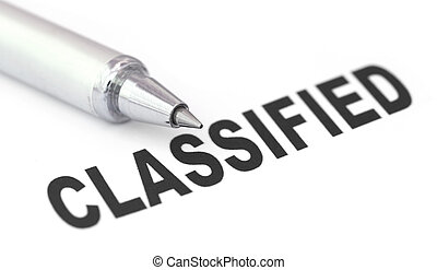Classified printed in a white paper with pen