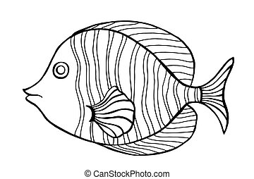 Hand Drawn Fish - Zentangle stylized Fish. Hand Drawn doodle...