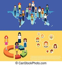 World map and people infographic illustration