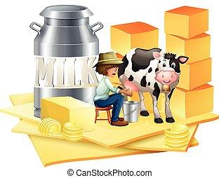 queso, lechería, granjero
