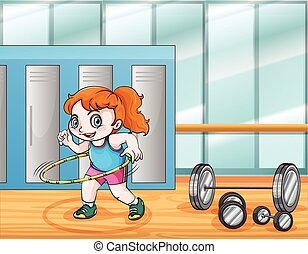 Young girl working out illustration