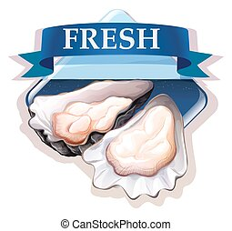 Fresh oysters with text illustration