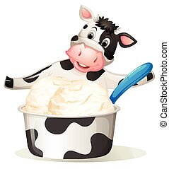 Cow with dairy ice cream