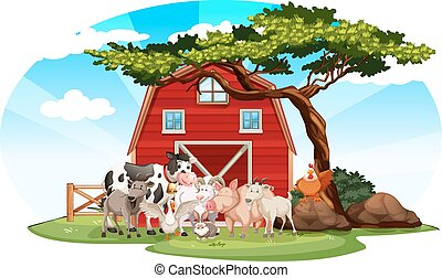 Farm scene with animals