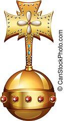 Golden orb with gems illustration