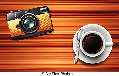 Camera and a coffee on table