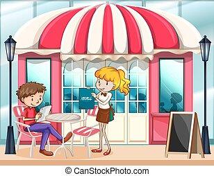 Cafe scene with waitress