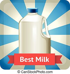 Milk bottle with text
