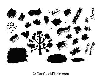 Set of ink drops, grunge for your design Vector illustration...