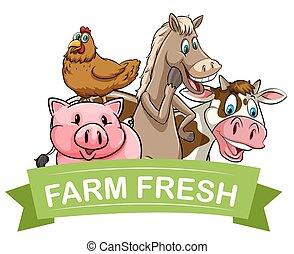 Farm fresh food label illustration