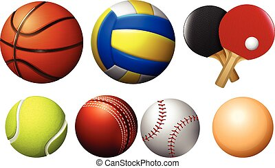 Sports balls on white illustration