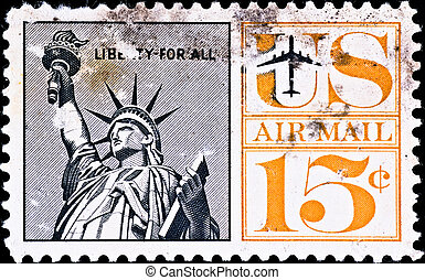 postage stamp shows US Statue of Liberty, circa 1970s - USA...