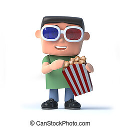 3d Nerd goes to the movies - 3d render of a boy in 3d...