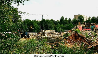 old construction site and tractor time lapse - time lapse...