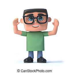 3d Nerd cheers with joy - 3d render of a boy in glasses with...