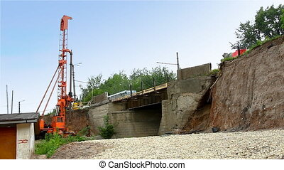 pile rig repair bridge over rail road - pile poppethead...