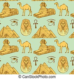 Sketch Egyptian seamless pattern in vintage style