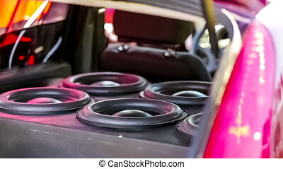 Car Speakers Diffusers Moving With Sound - Close-up footage...