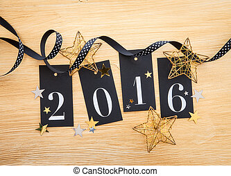 2016 with glittery decoration - 2016 written on gift tags...