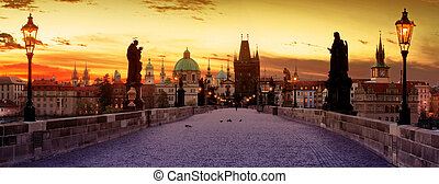 Charles Bridge in the Prague - View of the Lesser Bridge...