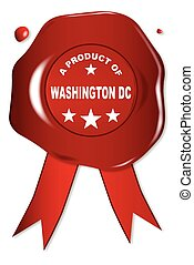 A Product Of Washington DC - A wax seal with a the text A...