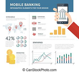 Online banking infographic with bank on the sreen of...