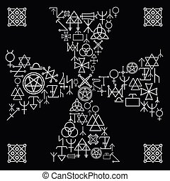 Esoteric cross. Religion and magic, abstract mystery, occult...