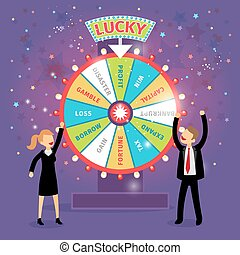Vector financial wheel of fortune Business concept Chance...