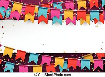 Confetti celebration background. - White paper note....