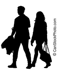 Women and man - Silhouettes of men and women on a white...