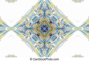 Ethnic pattern Abstract kaleidoscope fabric design - White...