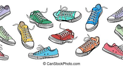 Sneakers shoes horizontal seamless pattern. Sport and street...