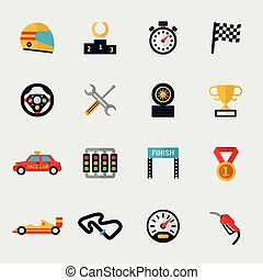 Race car track and racing flag modern flat icons - Set of...