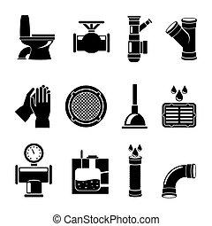 Sewerage icons set - Sewerage icons. Plumbing and faucet,...