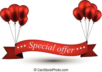 Special offer red ribbon background with balloons.