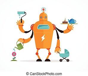 Multitasking robot character - Multitasking robot with baby,...