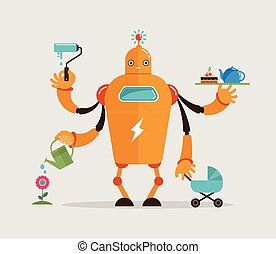 Multitasking robot character - Multitasking robot with baby,...