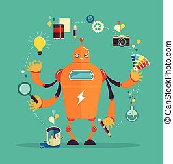 Robot graphic designer - creative thinking