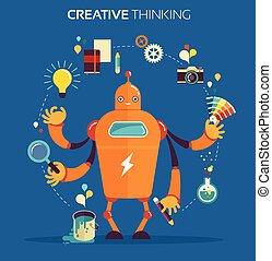 Robot graphic designer - creative thinking - Cute...